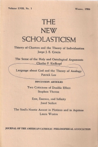 The New Scholasticism. Volume LVIII, nomber 1, winter 1984 (бук.) ― Архе